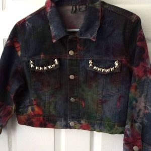 MIXIT tye dye junior denim crop jacket XL